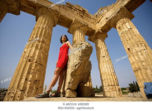 Woman in the Temple of Hera, Selinunte, Sicily, Italy MR