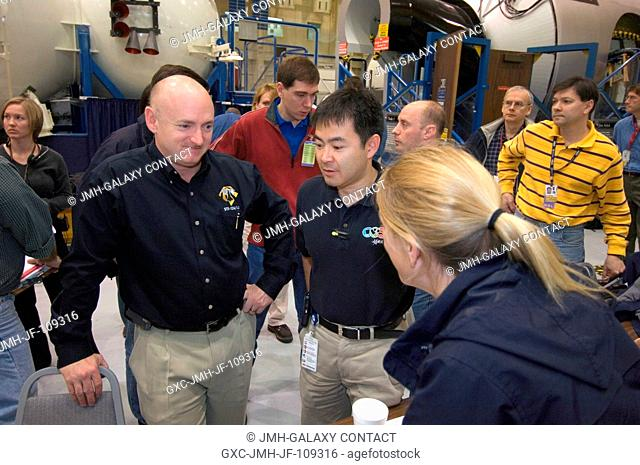 Expedition 17 and STS-124 crewmembers participate in a stationshuttle emergency scenarios training session in the Space Vehicle Mockup Facility at the Johnson...