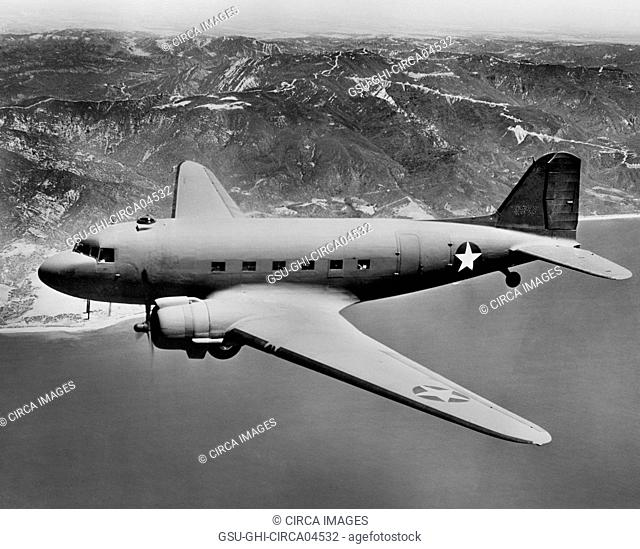 U.S. Army Douglas C-47 Military Aircraft, In-Flight, Office of War Information, 1942