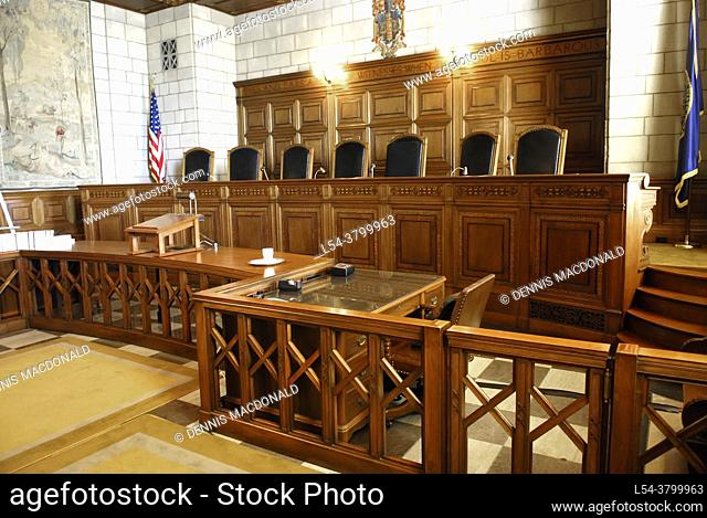 The State Supreme Court Bench inside the The State Capitol Building Lincoln Nebraska NE
