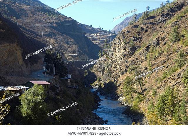 The Thimphu-Phuensuling mountain highway, in Bhutan November 17, 2007