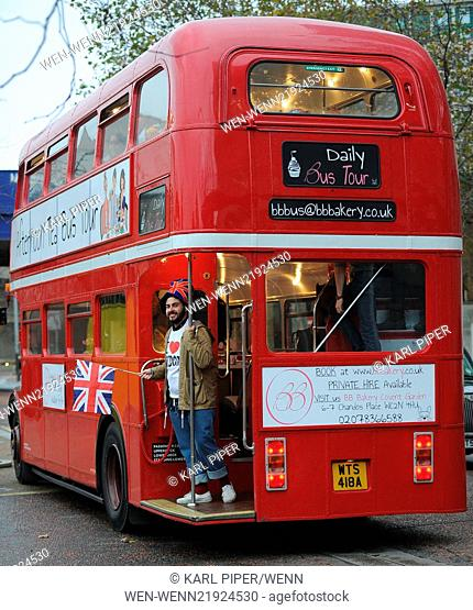 Mel B and X Factor finalist Andrea enjoying afternoon tea and champagne while touring London on a Route Master bus Featuring: Andrea Faustini Where: London