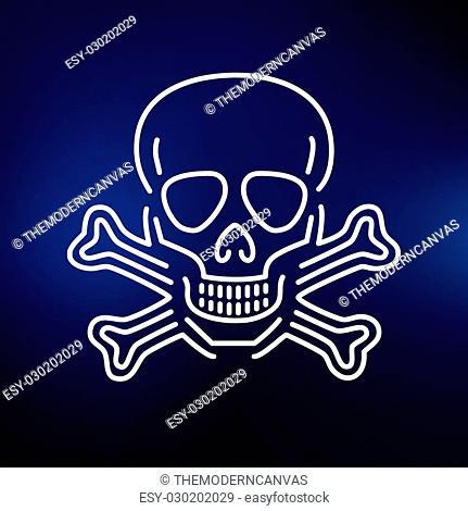 Beware danger skull icon. Warning skull sign. Skeleton symbol. Thin line icon on blue background. Vector illustration