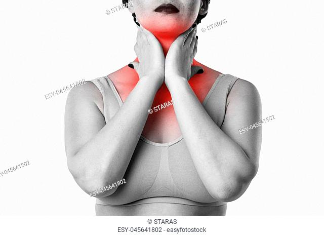 Sore throat, woman with pain in neck, studio shot isolated on white background