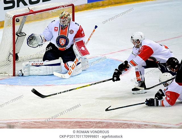 Goalie Joacim Eriksson (left) of Vaxjo and Lukas Klimek (right) of Sparta in action during the Ice hockey Champions League semifinal play-off game: Sparta Praha...