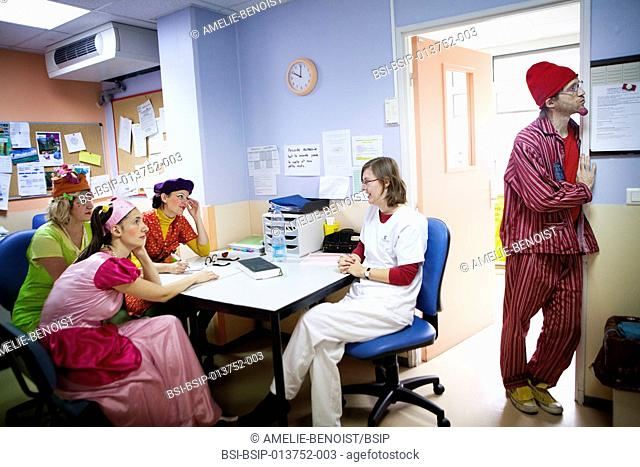 Reportage on the « Clowns of Hope » charity, who offer its services in the Department of Pediatric Hematology in Jeanne de Flandre hospital in Lille, France