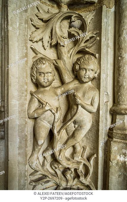Gothic style decoration of cloister at Monasterio de San Juan de los Reyes in Toledo, Spain
