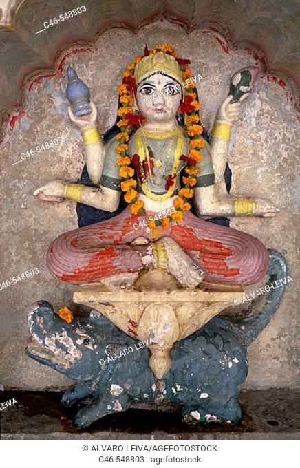 Ganga goddess at Lalita ghat, Varanasi. Uttar Pradesh, India
