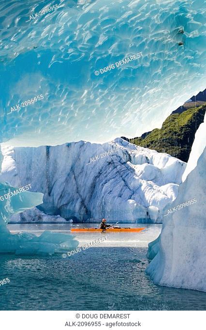 Male Kayaker In Bear Cove Lagoon Resurrection Bay Alaska Kenai Fjords Np Kenai Peninsula Summer