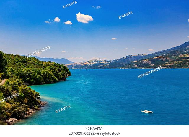 View of lake Serre-Poncon, Alps, France