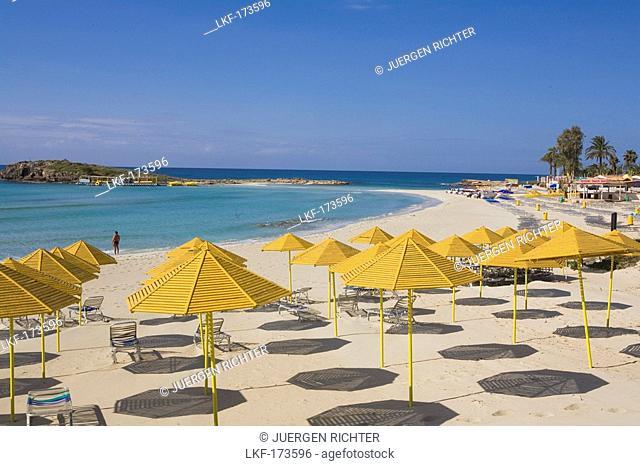Nissi beach with sunshades, Agia Napa, South Cyprus, Cyprus