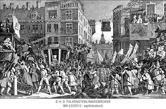 Parade, Lord Mayor's Show, 1750, the newly elected Lord Mayor of the City of London, England, 18th century, caricature by William Hogarth, 1697 - 1764