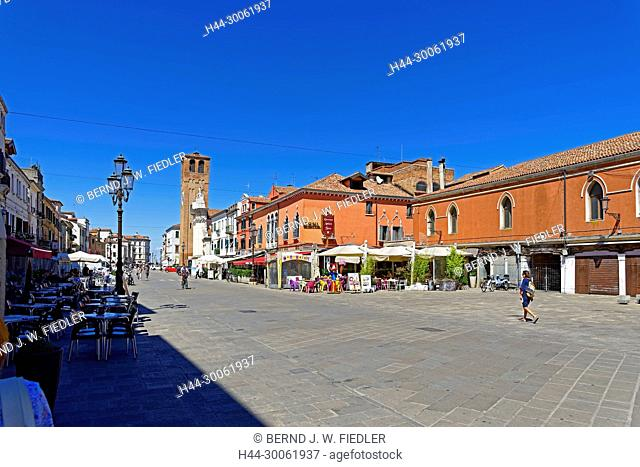 Europe, Italy, Veneto Veneto, Chioggia, Corso del Popolo, street view, historical building, Chiesa di Saint Andrea, building, place of interest, tourism