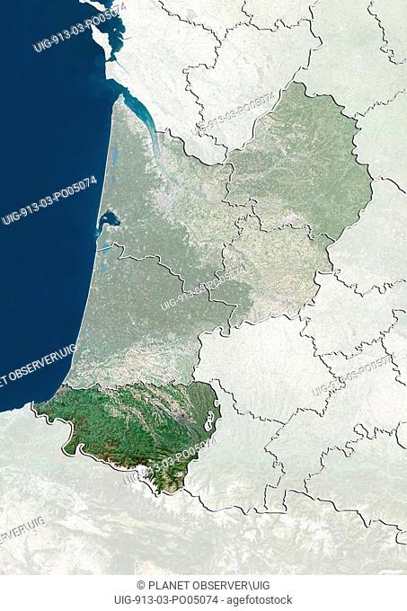 Departement of Pyrenees-Atlantiques, France, True Colour Satellite Image
