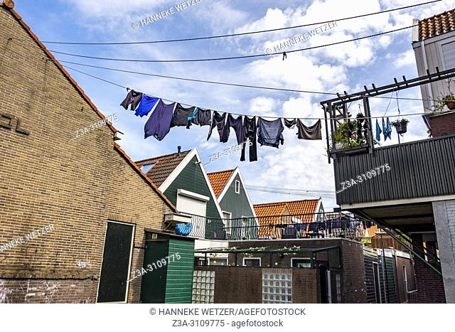 Laundry drying in the streets of Volendam, North-Holland, the Netherlands, Europe