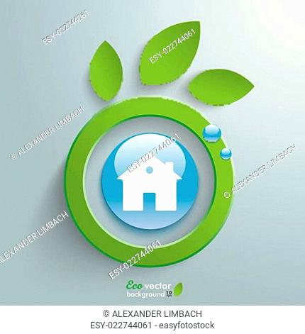 Eco Leaves Blue Button House