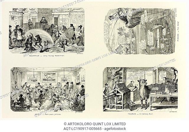 Aquarius, Jolly Young Watermen from George Cruikshank's Steel Etchings to The Comic Almanacks: 1835-1853 (top left), 1846, printed c