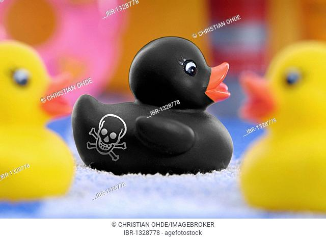 Black rubber duck marked with a skull and crossbones as a warning of poisonous substances, PAHs in rubber products