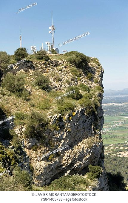 Telecommunication towers, Sanctuary of Nostra Senyora de Cura, Majorca, Balearic Islands, Spain