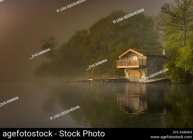 The Duke of Portland Boathouse in autumn, near Pooley Bridge on Ullswater Lake, Lake District, Cumbria, England, Uk, Gb