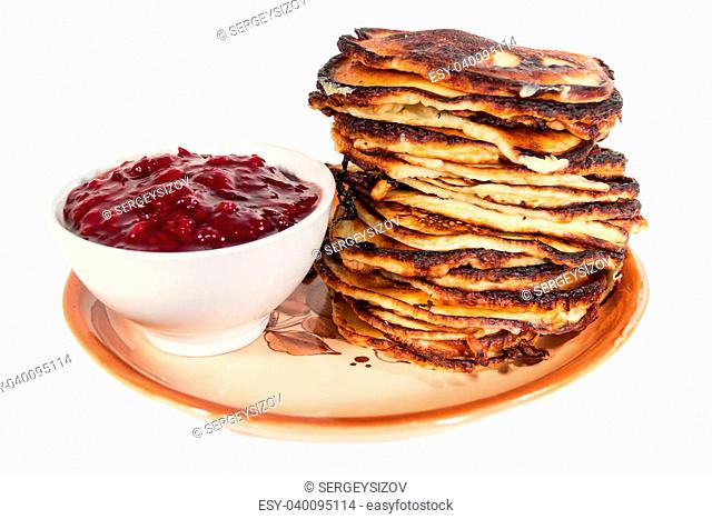 Pancakes jam dish plate stack high sour cream bowl red yellow white background isolated