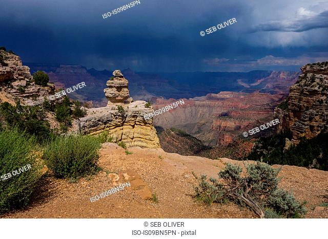 Storm clouds approaching across the Grand Canyon National Park, Arizona, USA
