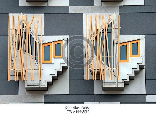 Window detail, Scottish Parliament building, Royal Mile, Edinburgh, Scotland, designed by the Spanish architect, Enric Miralles