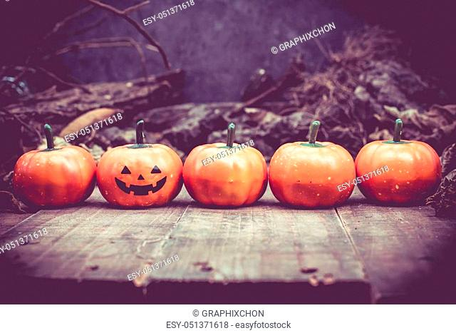 Happy Halloween with pumpkin, trick or treat in autumn season. Scary and boo symbol at night
