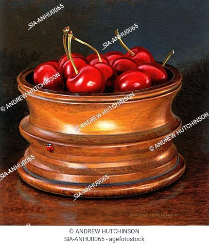 Cherries in wooden pot and red beetle