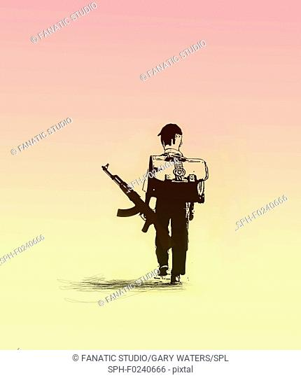 Conceptual illustration of a young schoolboy with a backpack and a machine gun walking, depicting guns in schools
