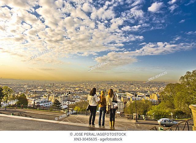 Panorama of Paris from the Sacré-Cœur Basilica or Basilica of the Sacred Heart Montmartre, 18th arrondissement, Paris, France, Europe