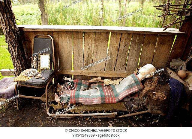 A dolls lies on a chair on the Island of the Dolls in Xochimilco, southern Mexico City. The late Don Julian turned his 'chinampa