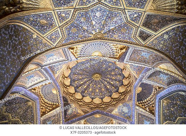 Ceiling of Ak Saray Mausoleum, Samarkand, Uzbekistan