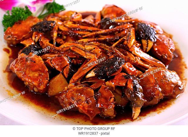 Sauted Hardshell Crab with Rice Cake