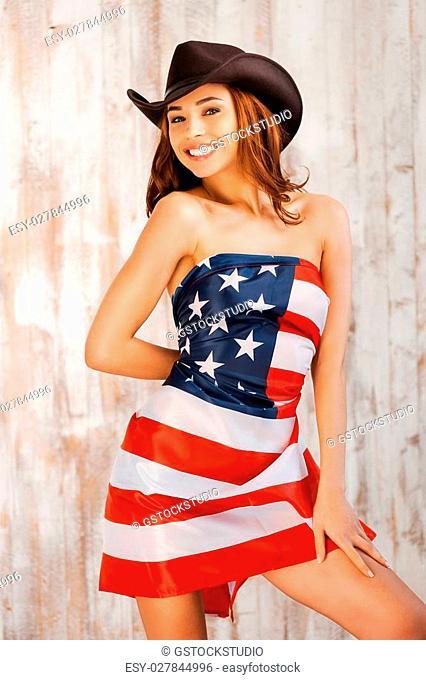 Naked girl american flag essence