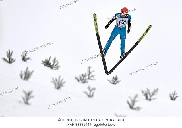 The nordic skiing combined athlete Manuel Faisst from Germany during a training session on the normal ski jump at the Nordic Skiing World Championships in Lahti