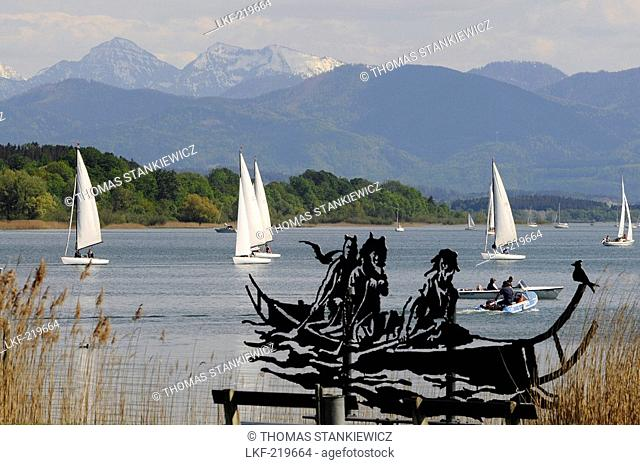 Artwork on the lakeshore in Seebruck at Chiemsee, Bavaria, Germany
