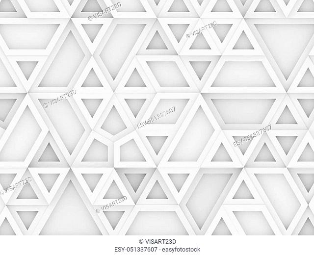 equilateral triangles - white abstract background - 3d rendering
