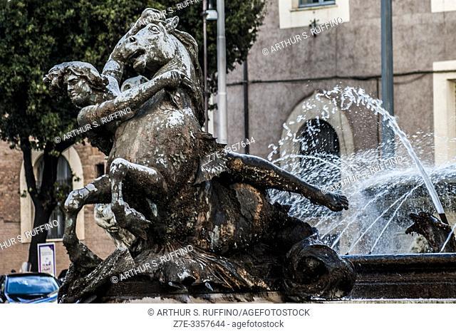 Bronze sculpture of the Ocean Nymph. Fountain of the Naiads (Fontana delle Naiadi), Italy, Piazza della Repubblica, Rome, Italy, Europe