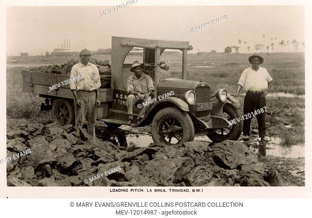 Trinidad and Tobago - Pitch Lake at La Brea - Loading Pitch - British West Indies. This particular truck has an M.G.W (Maximum Gross Weight) of 3 tonnes