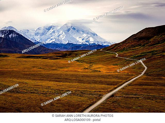 The base of Denali as seen from Denali National Park road. Visible only 30 of the time, Denali is so large, this geological feature generates its own weather