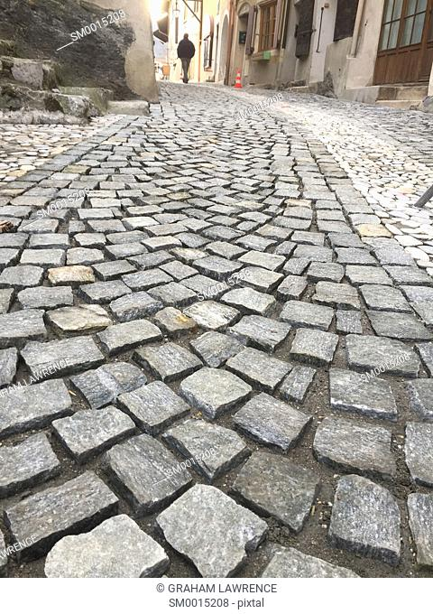 Cobbled street, Conflans, Savoie, France, Europe