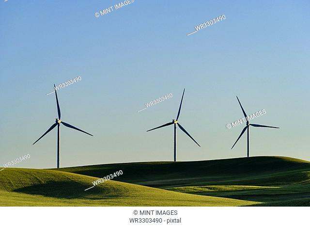 Wind turbines in green rolling landscape