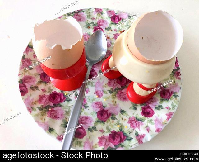 Shells of two eaten boiled eggs