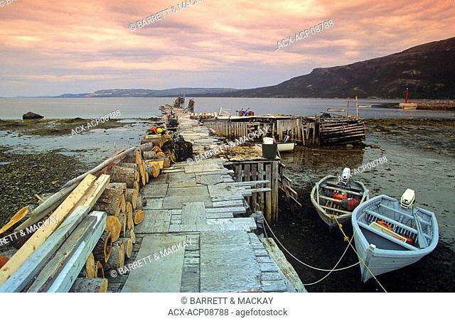 wooden dories tied to dock, Postville, Labrador, Newfoundland, Canada