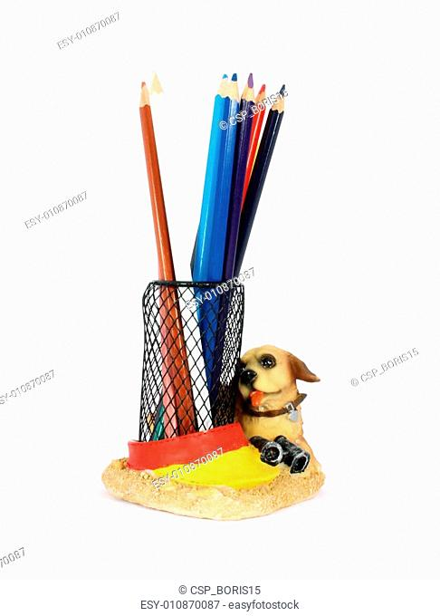 Pencil cup filled with colorful used pencils