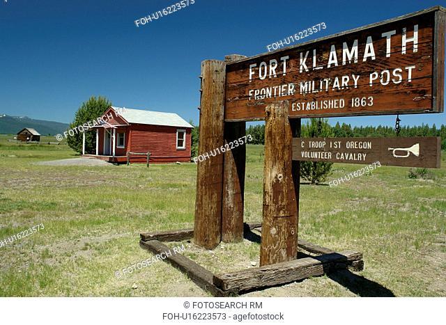 Fort Klamath, OR, Oregon, Fort Klamath Historical Frontier Post and Museum, Fort Klamath Military Post, wooden entrance sign
