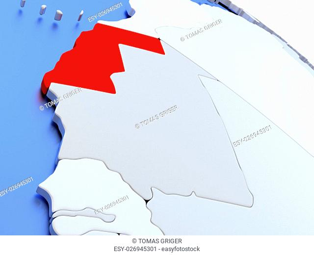Map of Western Sahara on elegant silver 3D globe with blue oceans. 3D illustration
