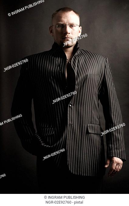 Fashionable Man in Suit Jacket