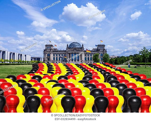 Germany parliament and figures in black, red gold